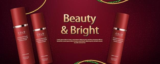 Cuidados com a pele vermelha de luxo com banners de anúncios de papel