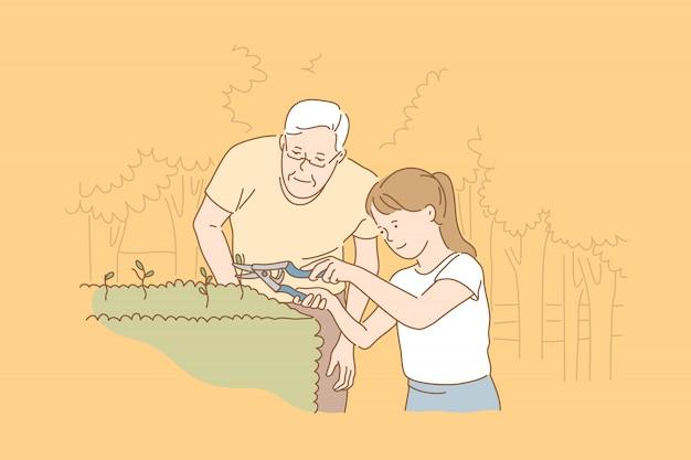 Cuidados com as plantas, ilustração de lazer em família