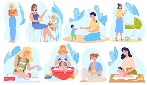 Cuidados com o bebê, ilustrações de amamentação, cartoon conjunto com mãe personagem amamentam, dando leite de bebê recém-nascido, alimentação jogando