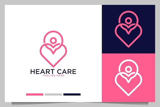Cuidados com o coração com design de logotipo abstrato de pessoas