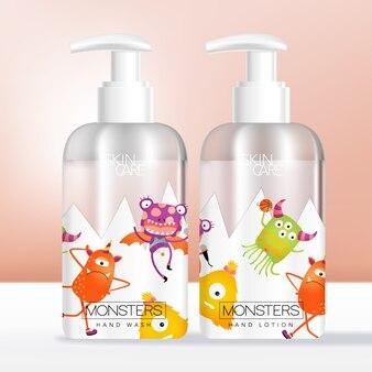Cuidados com o corpo para crianças ou bebês ou produtos de higiene pessoal transparente bomba de garrafa ou dispensador de embalagens com monstros dos desenhos animados impressos.