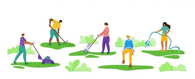 Cuidados com o gramado e jardinagem - as pessoas cortam a água e arejam a grama no quintal ou parque ao ar livre, serviço de gramado