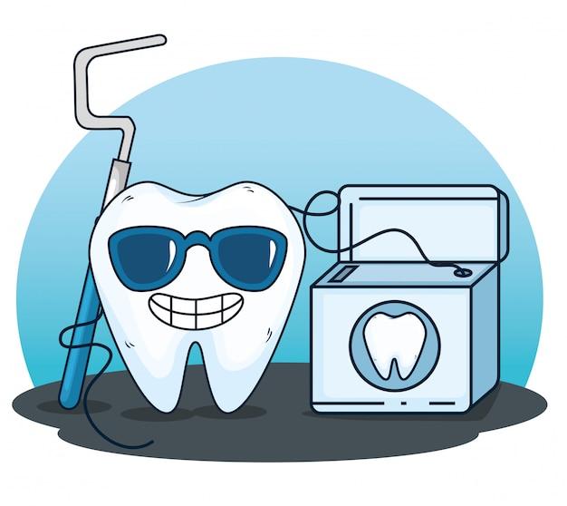 Cuidados com os dentes com a ferramenta da escavadeira e o fio dental