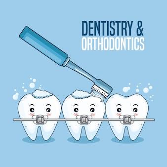 Cuidados com os dentes com a ferramenta ortodôntica e escova de dentes