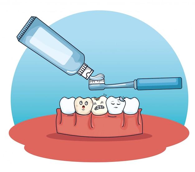 Cuidados com os dentes com creme dental e escova de dentes
