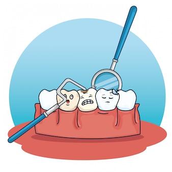 Cuidados com os dentes com equipamento escavador e espelho bucal