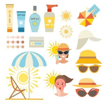 Cuidados creme de proteção da pele e loção de proteção de pele de beleza.