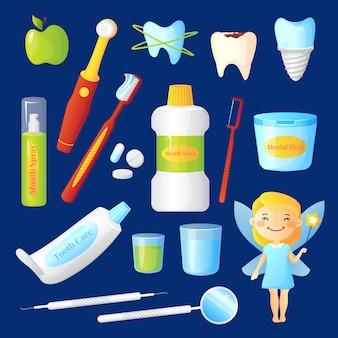 Cuidados de dentes conjunto com dentista e símbolos de saúde ilustração em vetor isoladas plana