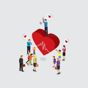Cuidados de saúde com conceito isométrico