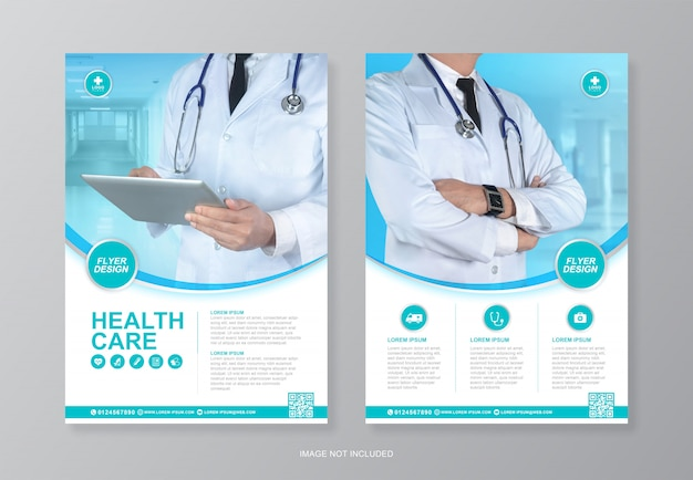 Cuidados de saúde corporativos e cobertura médica, modelo de design de folheto a4 página traseira