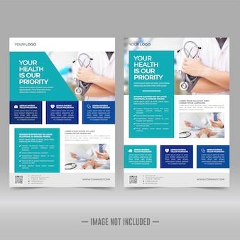 Cuidados de saúde corporativos e modelo de folheto médico