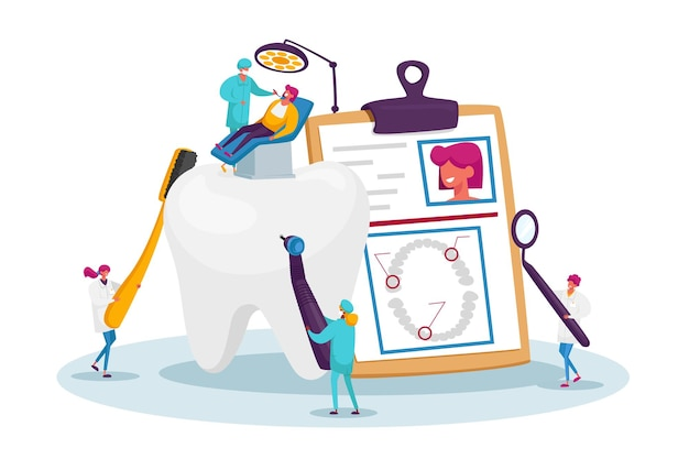 Cuidados de saúde dentária, programa de tratamento oral, conceito de check-up