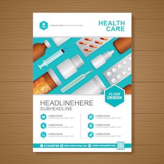 Cuidados de saúde e cobertura médica modelo de design a4