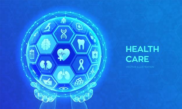 Cuidados de saúde e conceito de serviços médicos.