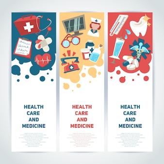 Cuidados de saúde e medicina banners verticais médicos conjunto ilustração vetorial isolado