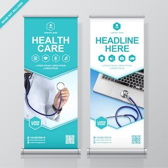 Cuidados de saúde e médicos arregaçam design, modelo de banner standee
