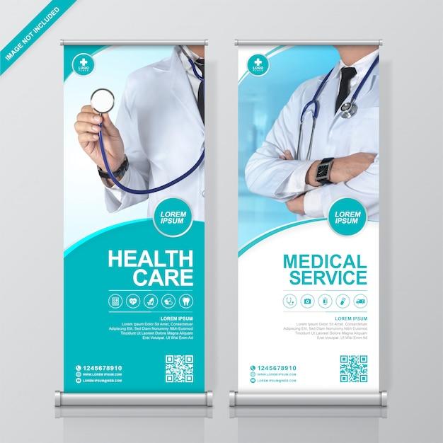 Cuidados de saúde e médicos arregaçar e modelo de banner de standee