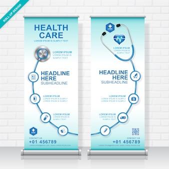 Cuidados de saúde e médicos enrolam modelo de design