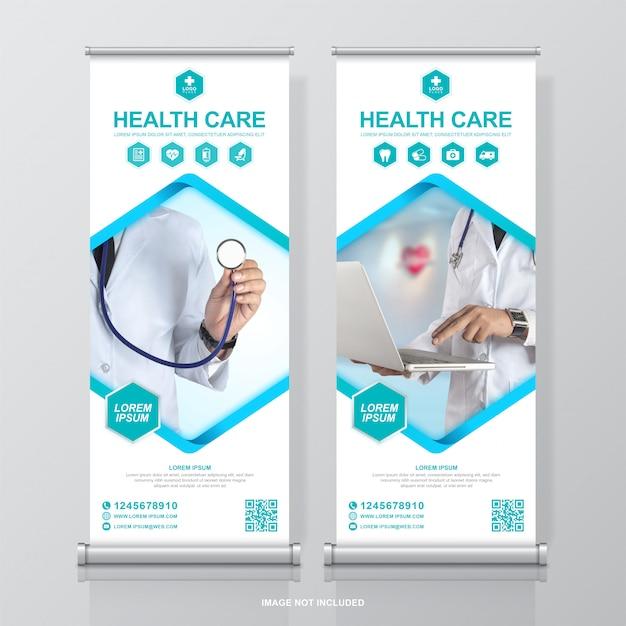 Cuidados de saúde e produtos médicos arregaçar modelo de banner de design e standee