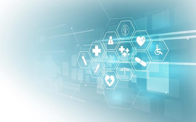 Cuidados de saúde ícone padrão inovação médica de fundo