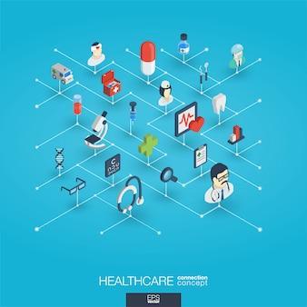 Cuidados de saúde, ícones web 3d integrados. conceito isométrico de rede digital