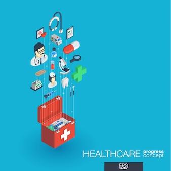 Cuidados de saúde, ícones web integrados. conceito de progresso isométrico de rede digital. sistema de crescimento de linha gráfica conectada. abstrato para medicina e serviço médico. infograph