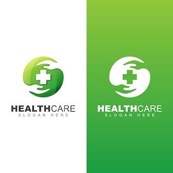 Cuidados de saúde logotipo médico. modelo de design de logotipo de farmácia de cuidados de mão