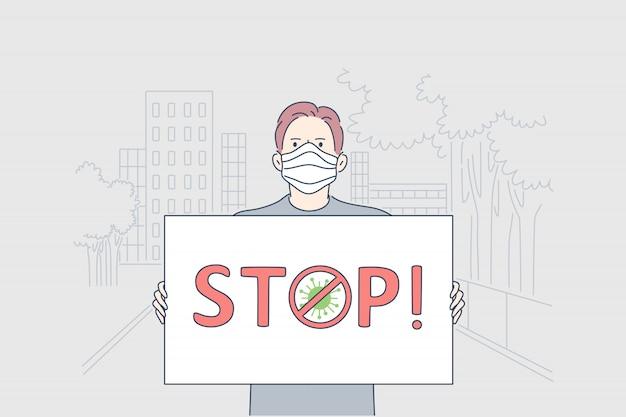Cuidados de saúde, manifestação, infecção, coronavírus, conceito de ativismo.