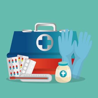 Cuidados de saúde médicos com conjunto de ícones