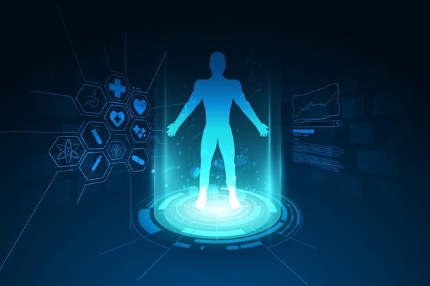 Cuidados de saúde médicos conceito de diagnóstico de corpo humano fundo