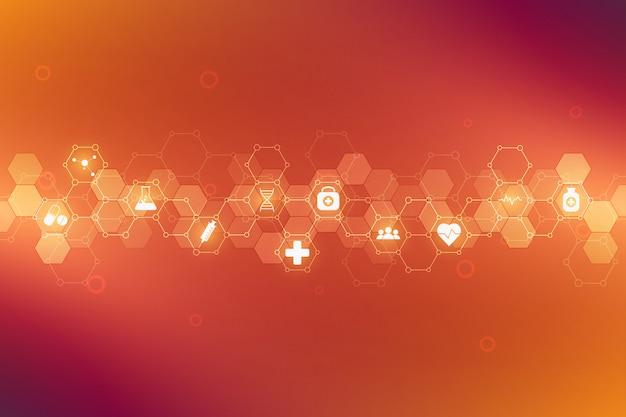 Cuidados de saúde médicos e ciência fundo com ícones e símbolos. tecnologia de inovação.