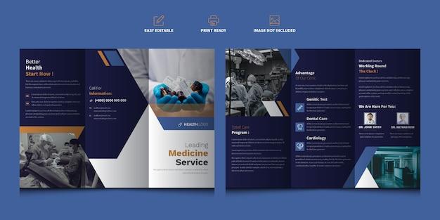 Cuidados de saúde ou brochura com três dobras médica