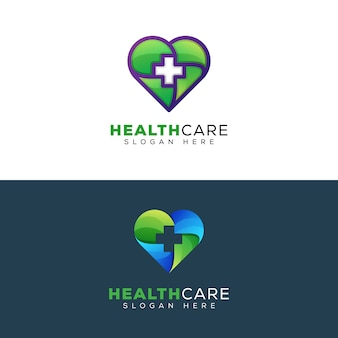 Cuidados de saúde ou modelo de design de logotipo médico coração
