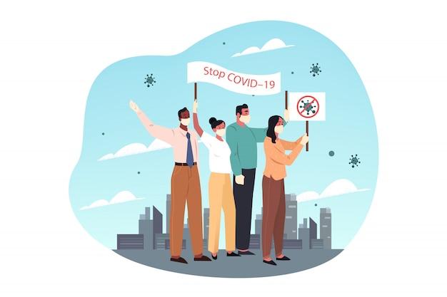 Cuidados de saúde, protesto, covid19, infecção, 2019ncov, coronavírus, conceito de proteção