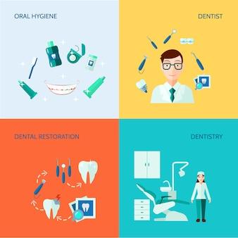Cuidados de tratamento odontológico e conjunto de banner de higiene oral