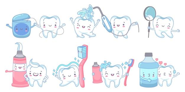 Cuidados dentários de desenhos animados. limpeza dos dentes com pasta e escova de dentes. jato de água dental, fio dental e enxágue bucal com conjunto de ilustração de mascote de dente.