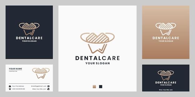 Cuidados dentários de luxo criativos, design de logotipo de odontologia com cartão de visita