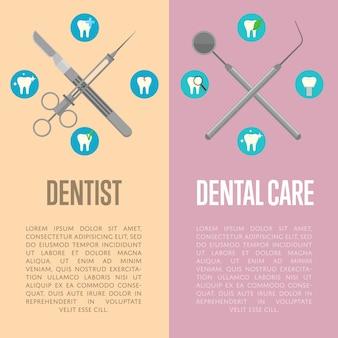 Cuidados dentários e folhetos verticais de dentista