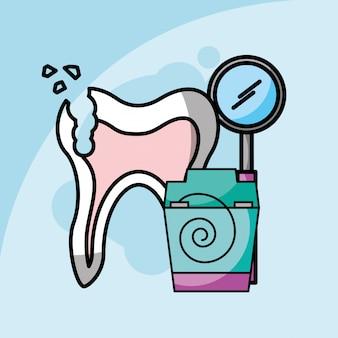 Cuidados dentários quebrado dente dental e ferramenta odontologia