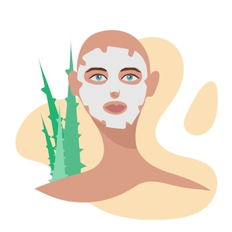 Cuidados faciais para mulheres jovem aplicando máscara facial de argila no rosto