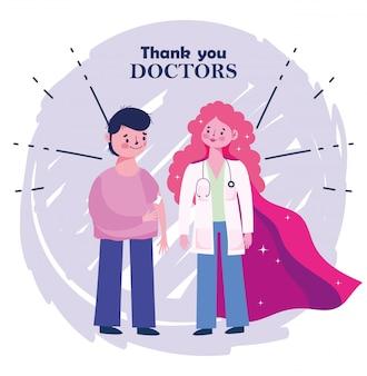 Cuidados médicos de vacinação, médica e menino com curativo no braço