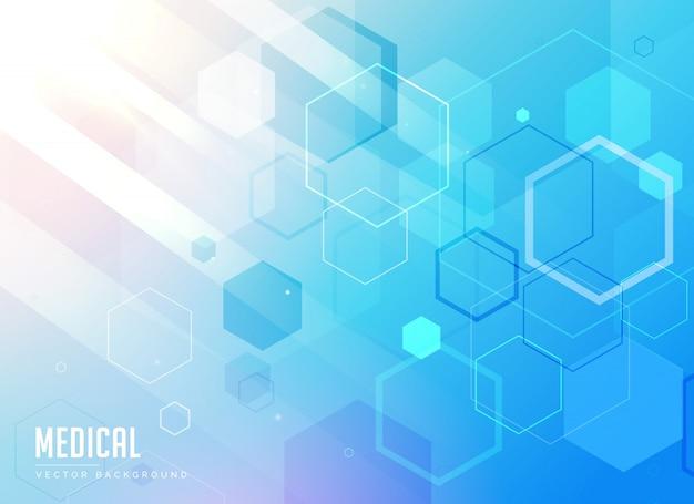 Cuidados médicos fundo azul com formas geométricas hexagonais