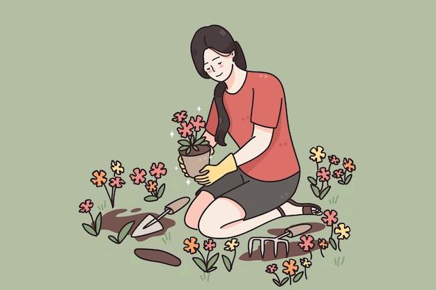 Cuidando das plantas que crescem no conceito de flores