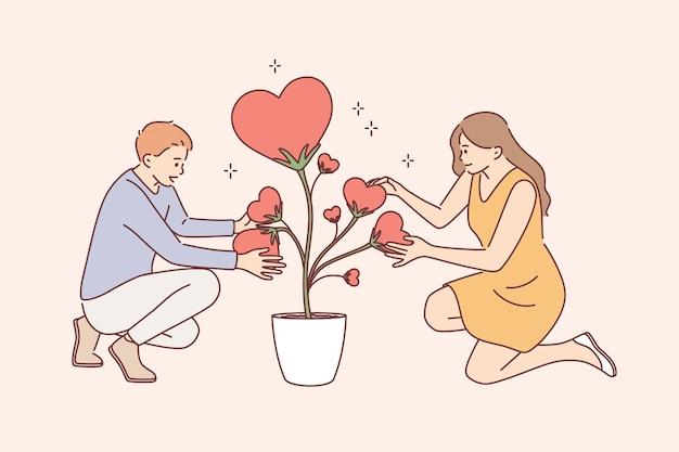 Cuidando do conceito de amor e plantas. jovem casal sorridente, personagens de desenhos animados de mulher e homem sentados segurando um coração em forma de folhas da planta do amor no vaso, juntos, ilustração vetorial