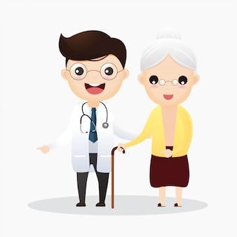 Cuidando dos idosos. médico e mulher