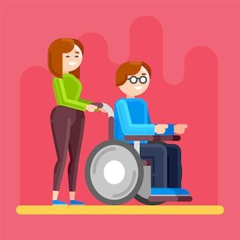Cuidar de inválido. cuidados com pessoas com deficiência.