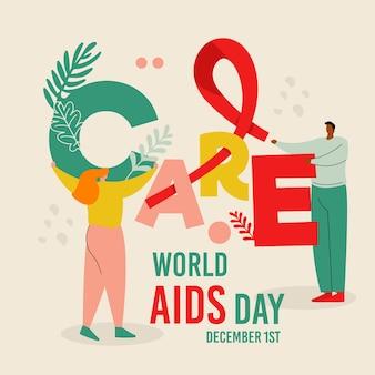 Cuidar e ajudar o dia mundial da aids