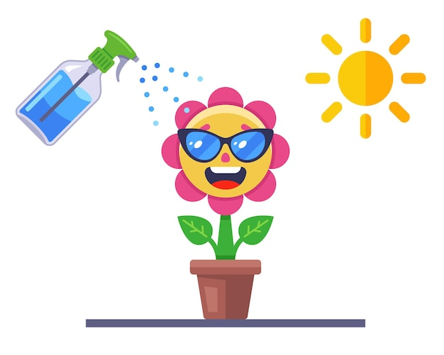 Cuide da flor. planta alegre em uma panela. ilustração vetorial plana.