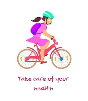Cuide da sua saúde. mulher ciclista, estilo de vida saudável