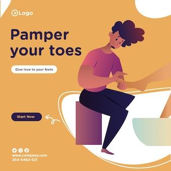 Cuide do seu design de banner nos dedos dos pés com o homem do salão fazendo pedicure de uma mulher